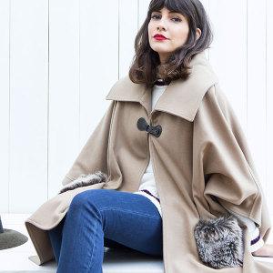 Capa lana-cashmere cuello grande